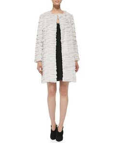 Faux-Fur Long Coat & Ribbed-Knit V-Neck Dress by Milly at Neiman Marcus.