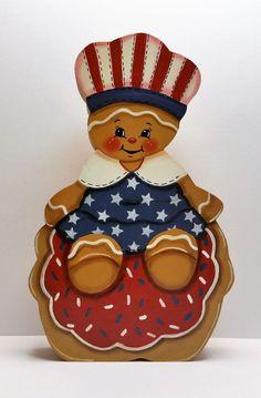 Hand Painted SHELF SITTER Patriotic Ginger Cookie Baker  painted by Marty Kaatz #Primrosefields #HandPainted