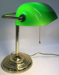 """BANKERS LAMP DESK STUDIO GREEN GLASS, BRASS BASE 14"""" TALL ADJUSTABLE VINTAGE - http://collectibles.goshoppins.com/lamps-lighting/bankers-lamp-desk-studio-green-glass-brass-base-14-tall-adjustable-vintage/"""