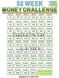 52 week money challenge saving plan free printable frugal ideas for saving money 52 week. Black Bedroom Furniture Sets. Home Design Ideas