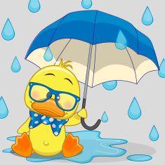 Duck with umbrella. Greeting card Duck with umbrella stock illustration Clipart Baby, Cute Clipart, Duck Drawing, Bird Template, Cute Cartoon, Cartoon Giraffe, Cute Illustration, Fabric Painting, Rock Art