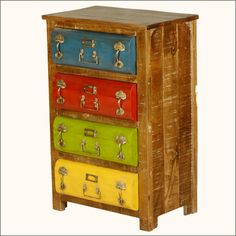We mixed innovation, lots of color and loads of imagination to create our Steam Punk Chest of Four Drawers. This whimsical dresser will catch everyone's attention with its eye popping yellow, green, red and blue iron drawer fronts. Each #drawer is decked out with three decorative handles and a metal ID placard. #interiors #contemporaryfurniture #homedecor #furniture #homeinspiration http://www.sierralivingconcepts.com/