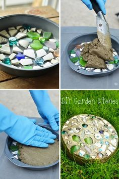Custom Stepping Stone  A custom stepping stone (could even do something a little more simple by carving initials or doing handprints) would ...