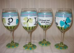 when a card just isn't enough, our friendship wine glasses make a special gift. our glasses are hand-painted and featured first name initial and proverbs saying. glassware may be designed in any color scheme or with any saying.  $28 per piece  $25 for set of two or more
