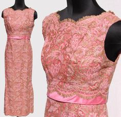 vintage 60s pink gold metallic lace sheath gown