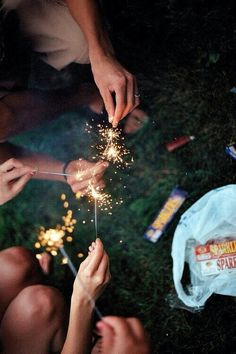 Sparklers on fourth of july, and a big lake to swim in. I like this backwoods place my friends and I call home.