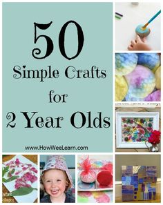 50 crafts for 2 year olds! Simple toddler crafts that focus on the process of creating and are meant for two year olds to do all on their own! www.HowWeeLearn.com