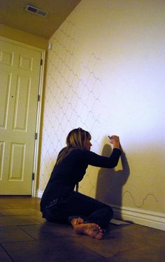 DIY paint pen 'wallpaper' | The Shabby Nest: How I Created My Living Room Accent Wall