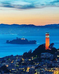 Alcatraz and The Coit Tower by Mar10P #sanfrancisco #sf #bayarea #alwayssf #goldengatebridge #goldengate #alcatraz #california