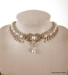 Beautiful Bridal choker features silver chains combined with white Ivory freshwater pearls with a silver flower filigree set with Ivory pearls and clear Swarovski rhinestone and a drop pearl is Silver Wedding Jewelry, Rhinestone Wedding, Rhinestone Jewelry, Silver Necklaces, Bridal Jewelry, Pearl Jewelry, 1920s Jewelry, Victorian Jewelry, Vintage Jewelry