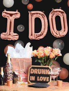These Rose Gold Mylar Wedding balloons are perfect for a bachelorette party or bridal shower!