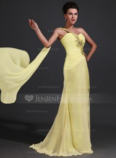 Trumpet/Mermaid One-Shoulder Sweep Train Chiffon Mother of the Bride Dress With Ruffle Lace Beading Split Front (008017368) - JenJenHouse