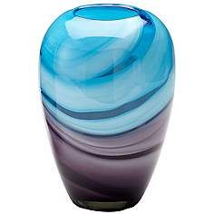 """Callie Turquoise and Purple 9 1/2"""" High Glass Vase"""