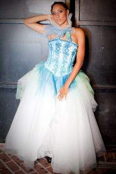 SALE 40% OFF Hand-dyed upcycled blue-green bridal princess ball gown, wedding dress with removable collar size 8-10-12. $960.00, via Etsy.