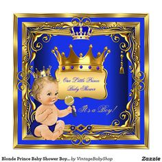 Blonde Prince Baby Shower Boy Blue Gold Invitation