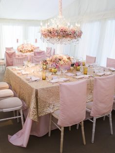 Sequin tablecloth, pink chairs #glam #reception Photography: Polly Alexandre Photography - alexandreweddings.com  Read More: http://www.stylemepretty.com/2014/05/23/glamorous-pink-english-wedding/