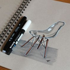 Really quickly tried to do a transparent Eames chair some exciting sketches coming up soon!  #industrialdesign #id #idsketching #productdesign #design #designer #diseño #diseñoindustrial #sketch #sketches #sketching #sketchbook #sketchoftheday #sketchdaily #drawing #doodle #vitra #eames #transparent #wood #render #marker #glass by abidurchowdhury