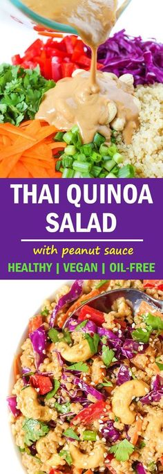 Fresh Thai Quinoa Salad with Peanut Sauce YUM! Fresh & crunchy Thai Quinoa Salad with the most amazing savory peanut sauce! So healthy, delicious, and delivers big time plant-based nutrition! Great for make-ahead meals and take-along lunches Quinoa Salat, Asian Quinoa Salad, Thai Peanut Salad, Paleo Quinoa Salad, Dressing For Quinoa Salad, Salad With Quinoa, Salad With Chicken, Edamame Salad, Chicken Salads