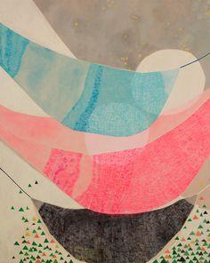 "Misato Suzuki ""Daydreaming Hammocks""  2010 60"" x 48""  Acrylic on Canvas   SOLD"