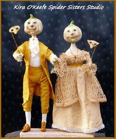 Primitive Queen Anne Style Halloween Couple Attend Masquerade Ball~ One of a…