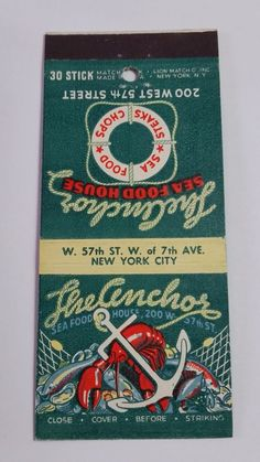 THE ANCHOR SEAFOOD HOUSE NEW YORK N.Y. 30 STICK #MatchBook Cover. To order  your Busnisess' own branded #matcbooks GoTo:www.GetMatches.com