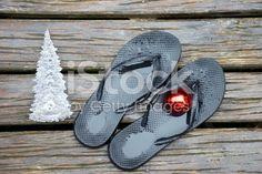 Kiwiana Christmas, Jandals, Bauble and Christmas Tree royalty-free stock photo