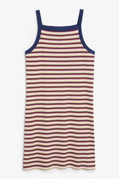 A super cute, short rib-knit cotton blend dress with multi coloured glitter stripes and a classic 90s square neckline and soft straps in contrasting dark blue. Bodycon fit. Search 0562560 on site.