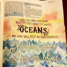 Inspo from our friends! Journaling Bible art for the song Oceans by Hillsong and the corresponding scripture. Faith Bible, My Bible, Bible Scriptures, Bible Quotes, Scripture Art, Bible Art, Peter Bible, Comforting Scripture, Family Problems
