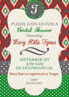 Free printable wedding shower invitations bridal shower ikat christmas bridal shower invitation ikat christmas by daxyluu 1500 filmwisefo