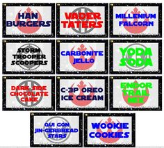 halloweencrafts:  DIY Starwars Party Menu, Ideas and Printables...