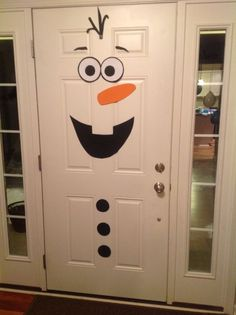 Frozen birthday party, Olaf front door decoration by lenora