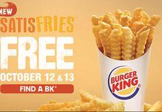 FREE Satisfries at Burger King on 10/12-10/13 on http://hunt4freebies.com