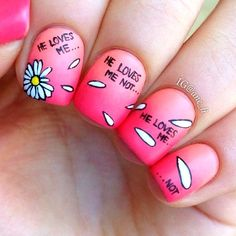 Dandelion nail art is a popular flower nail art around the world with young ladies always eager at getting cute nail art designs Daisy Nail Art, Daisy Nails, Cute Nail Art, Cute Nails, Pretty Nails, Hair And Nails, My Nails, Pink Nails, Crazy Nails