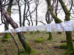 Olsen Zander emballe des morceaux d'arbres dans du tissus qu'il fait coïncider avec l'horizon avant des les prendre en photo, il y en a plus sur son site. ( Via )