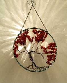SunCatcher Tree of Life Orange Carnelian Gemstone with Abalone Moon Gold Wire Wrapped Tree Sun Catcher Window Wall Ornament Handmade by Just4FunDesign (50.00 USD)