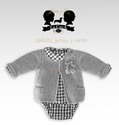 jersey camisa y ranita colección Twins Crochet Bebe, Knitting For Kids, Baby Knitting Patterns, Little Babies, Baby Dress, Purl Stitch, Designer Baby Clothes, Baby Suit, Knitted Baby Clothes