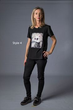 Fun limited edition hand finished tshirts with a cat theme in two colours and two styles  - fabric 955 cotton and 5% spandex