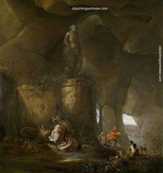 Abraham van Cuylenborch A grotto with travellers and a sculpture of Bacchus, painting Authorized official website Utrecht, A4 Poster, Poster Prints, Myths & Monsters, St Jacques, Bacchus, Vintage Artwork, Old Master, Impressionist