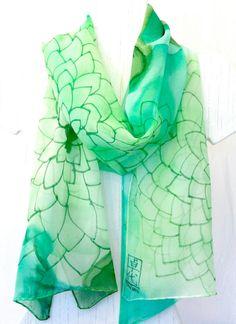 Silk Scarf Handmade Hand Painted Green Silk by SilkScarvesTakuyo, $90.00