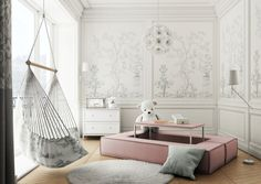 Inspiracje / Wymarzony Pokój dla Dziecka - sklep meble.pl Girl Room, Baby Room, Modern Kids, Modular Sofa, Kids Decor, Home Decor, Kidsroom, Decoration, Hanging Chair
