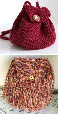Free Knitting Pattern for Easy Garter Stitch Backpack