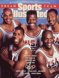 The 1992 U. men's Olympic basketball team (a. The Dream Team) covers the February 1991 issue of Sports Illustrated. The players covering the issue were Charles Barkley, Patrick Ewing, Karl Malone, Magic Johnson, and Michael Jordan. Basketball Legends, Sports Basketball, Basketball Players, Basketball Jones, Basketball Court, Basketball Leagues, Karl Malone, Patrick Ewing, 1992 Olympics