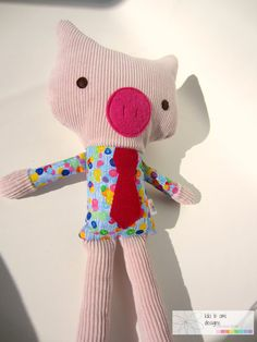 Up Cycled Stuffed Pig Toy, $25, made with re-purposed materials, child's gift idea