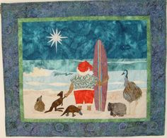 """Under the Southern Cross"" Australian Christmas quilt Aussie Christmas, Australian Christmas, Summer Christmas, Christmas Past, Christmas Crafts, Christmas Decorations, Craft Decorations, Christmas Stuff, Christmas Greetings"