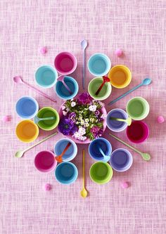 Multi-coloured melamine cups make a fabulous statement display on their own or are a quick way to perk up your kitchen table. More decorating ideas like this at http://www.redonline.co.uk