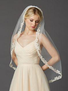 Short Lace Wedding Veil with Rum Pink & Champagne Floral Motif - Distinctive Veils & Accessories