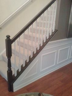 Builders Oak Chair Railing DIY: Painting Stair Railings & Fixing Color Mistakes - Snazzy Little ThingsDIY: Painting Stair Railings & Fixing Color Mistakes - Snazzy Little Things Painted Stair Railings, Stair Banister, Painted Stairs, Banisters, Bannister Ideas Painted, Basement Stair, Basement Plans, Foyers, Banister Remodel