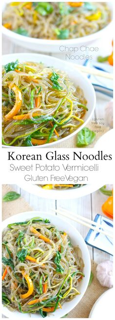 Korean Glass Noodles Chap Chae-Gluten free sweet potato vermicelli with loads of healthy veggies. Vegan