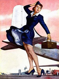 Stewardess, art by Ren Wicks - 1952 #vintage #stewardess