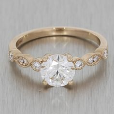 Rose Gold Vintage Engagement Ring With Milgrain Shoulders http://www.thesterlingsilver.com/product/byjoy-925-teardrop-sapphire-sterling-silver-stud-earrings/